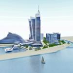 3D вид со стороны моря строительства нового многофункционального ЖК в ГРузии